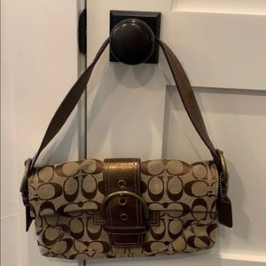 Coach gold/brown small shoulder purse